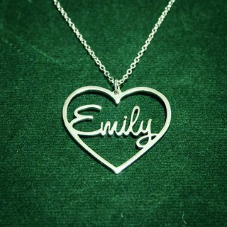 Custom name necklace in heart shape pendant silver plate