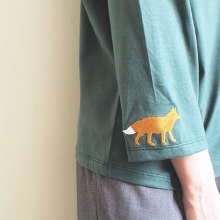 fox sleeve t-shirt : green