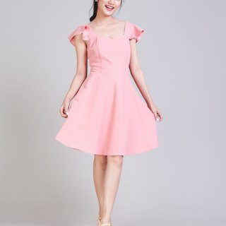 Pink Party Dress Pink Bridesmaid Dress Swing Dress Vintage Retro Summer Dress