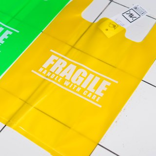 Plastic Bag / Fragile handle with care / Yellow