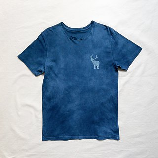Order production Indigo dyed Aizen dye organic cotton - BEER HUNTER TEE
