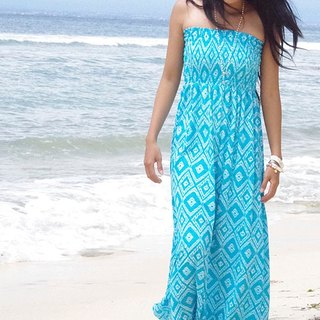 Adult ikat print tube top long dress <turquoise>