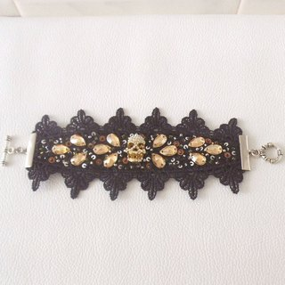 Black lace and Swarovski bracelet with skull
