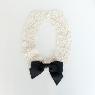 Black Ribbon detachable collar Lace pearl fake collar