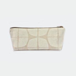 Canvas Pencil Pouch Small Makeup Bag - Scandinavian Stamp Print White