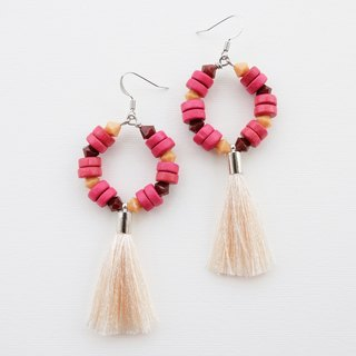 Red wood earrings with cream tassel