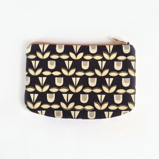 Canvas Zipper Pouch, Monochrome, Blooms. Small, padded