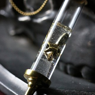 Syringe with Rabbit Skull Charm Necklace - Original Design Handmade by Defy