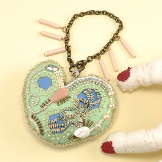 heart shaped bag charm,  beaded charm, bag charm ,gift for her, green heart, 2
