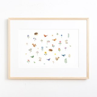 "Picturesque living. Framed Art Print ""Flowers and grass with animals"" FAP-A 532"