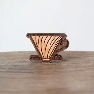Wooden Brooch Coffee ~ Hario V60 Copper
