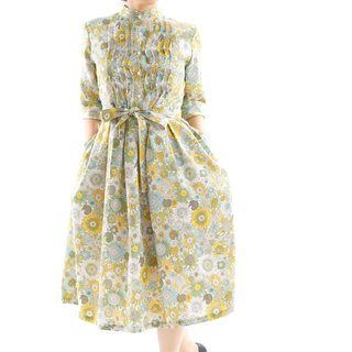 wafu+  Liberty dress / linen dress / midi dress / flower dress / a81-16