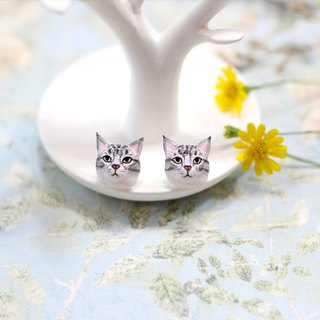 Maine Coon cat Earrings, Cat Stud Earrings, cat sculpture, cat lover gifts