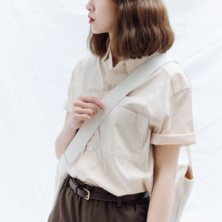 hao Khaki Orange Striped Sleeve Shirt 卡其橘线条短袖衬衫