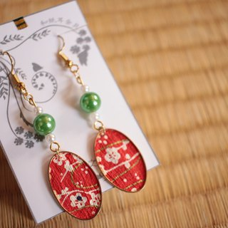 Japanese paper earrings earrings Elliptical plum