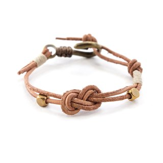 Infinity knot genuine leather in natural tan brass hook bracelet