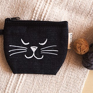 coin bag hand print with black cat