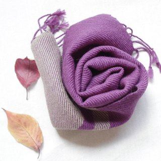 Purple and plum gray · wool mini scarves vegetable dyeing log wood · plum hand-woven