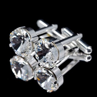 White Crystal Square Silver Cufflinks | Cuff Links | Swarovski Crystals