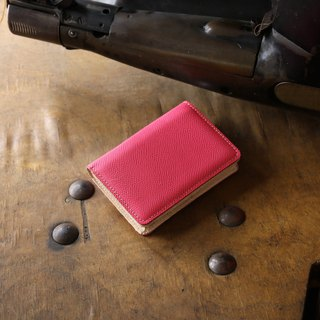 Japan Manufacturer's cowhide name One shoulder name piece 箱 powder 紅 紅 Weinheimer made in JAPAN handmade leather card case