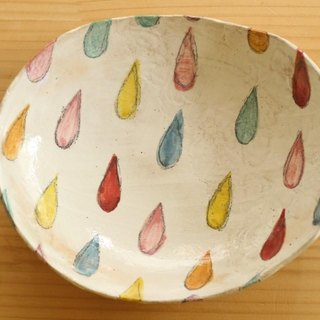 Drinking colorful drop oval dish.