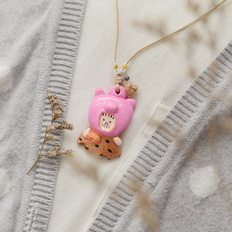 a little cute pink pig head man handmade necklace from Niyome