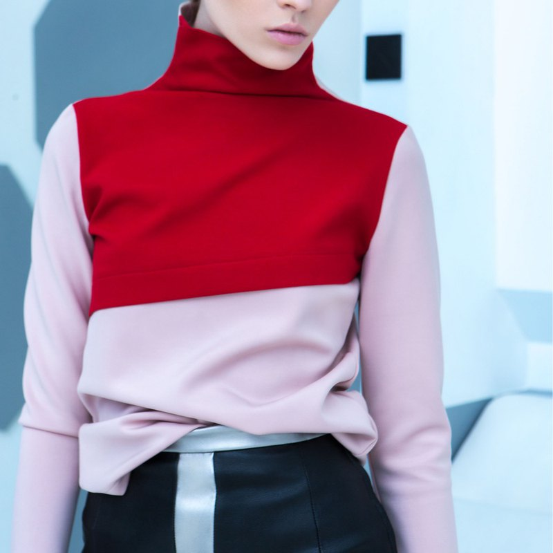 Two Tone Turtleneck Top