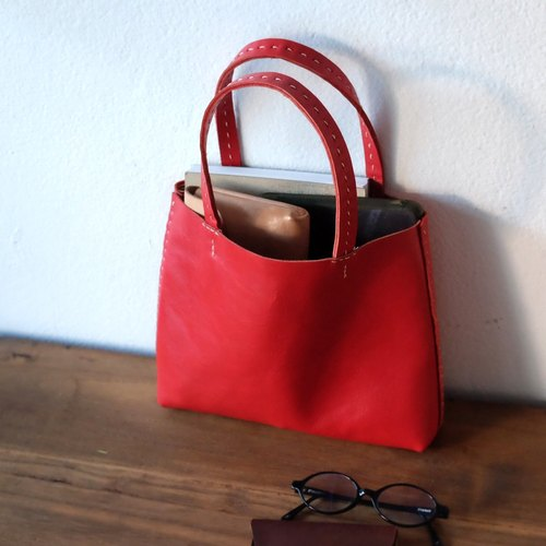 Tiny Red Leather Tote Bag / Small Red Handbag.