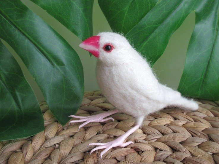 Stone bird white sentinel bird Java sparrow wool felt