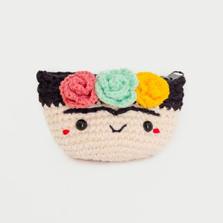 Crochet Coin Purse - Frida Kahlo No.1 | Crochet Coin Case | Small Round Pouch