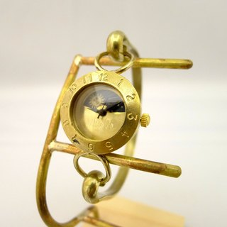 "Handmade watch HandCraftWatch ""Brass Armlet 3-S & M"" Lady's Brass Sun & Moon [289M-S & M]"