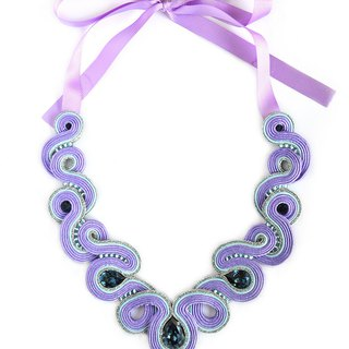 Bold necklace in purple color with Swarovski stones