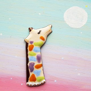 "enamel brooch ""colorful giraffe"""