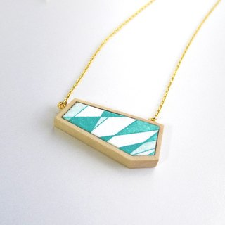 The necklace of etching print and wood <The pieces of ores / Jade green> -B-