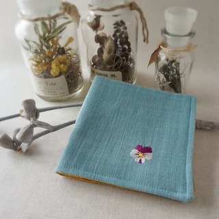 Hand embroidered gauze handkerchief viola white (order-receiving)
