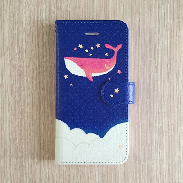 Handbook type smart case | Dreamer whale | iPhone 5 / 5s / SE iPhone 6 / 6s / 6 + iPhone 7 / 7s / 7 + Android