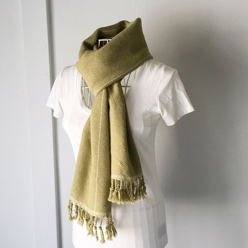 "Unisex hand-woven scarf ""Green and White lines"""