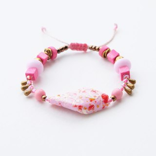 Pink painted bar bohemian string bracelet