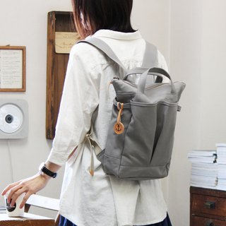 hike-mini: light gray Kurashiki canvas rucksack
