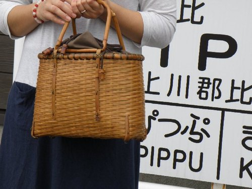 Bamboo basket bag Basket bag Zaru knit