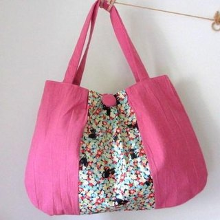 Half linen cat and fluffy soft shoulder bag * Rose pink