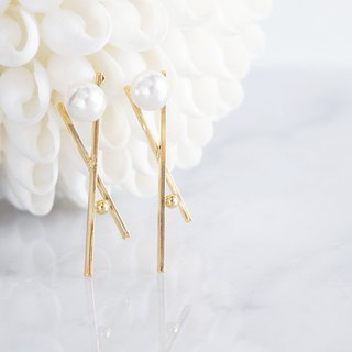 Glossy Gold Cross Pearl Earrings
