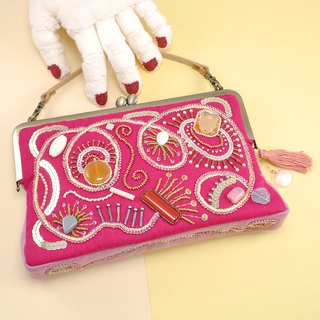 Embroidered bag with beads and yarn, party bag, sparkle pink bag