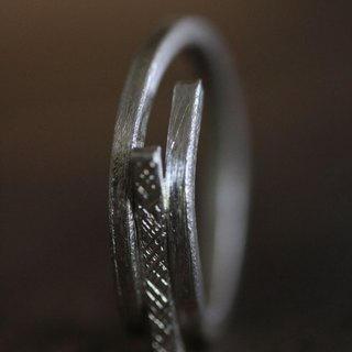 Handmade silver ring with linear bar in chiseled texture (R0046)