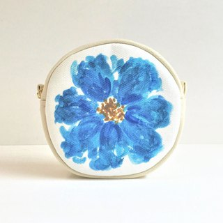 Blue Garden Circle Pouch Flower Pattern New Color Blue C