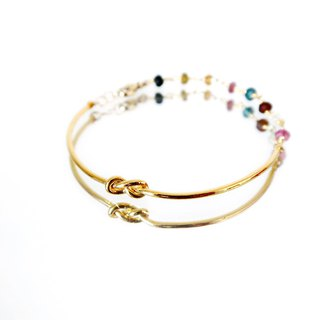 WATERMELON TOURMALINE VERMEIL LOVE KNOT BANGLE BRACELET