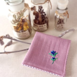 Hand embroidered gauze handkerchief  autumn bell flower(order-receiving)