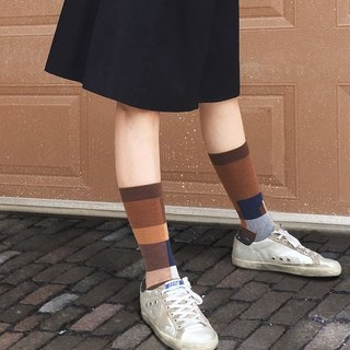 socks_desert / irregular / brown/ gift / check