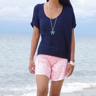 Summer Girl! Coral print shorts <pastel pink>