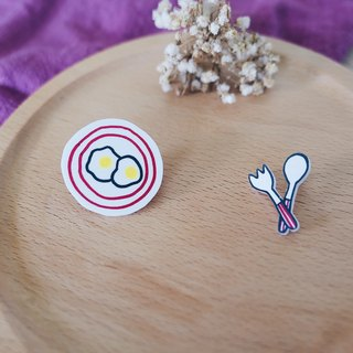 On The Table - Egg & Cutlery | Shrink Plastic Brooch | Pinback